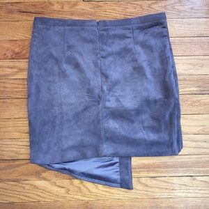 Olivaceous Skirts - NEW! Asymmetrical Suede Skirt - Gray/Purple